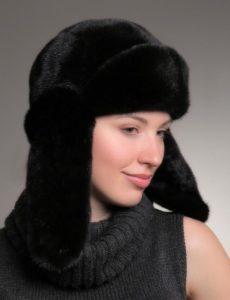 Стильные дамы в шапках ушанках из норки